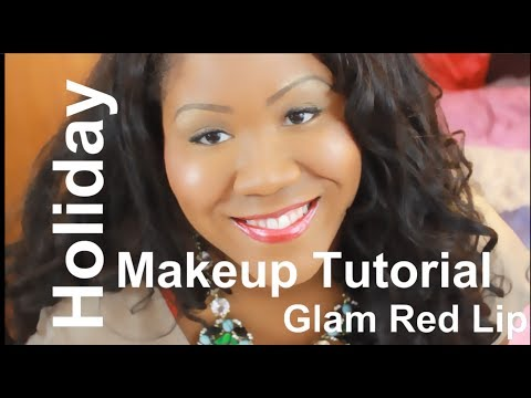 2013 Holiday Makeup Tutorial - Glam Gold Eyes and Bold Red Lips