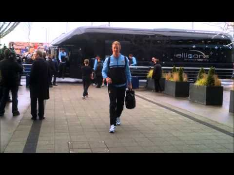 CITY V UNITED: MCFC team arrival at the Etihad Stadium