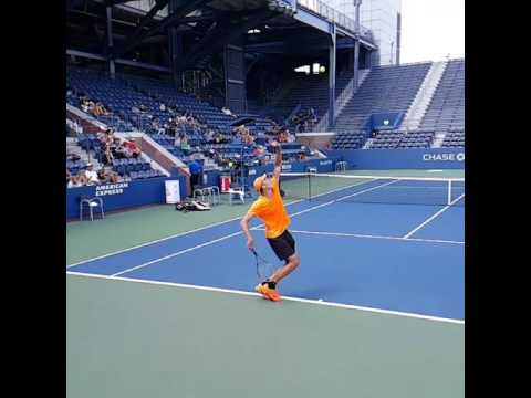Ivo Karlovic (*1979 / CRO) - 1st service 3.0 during a practice in the old Grandstand - 2016 US.Open
