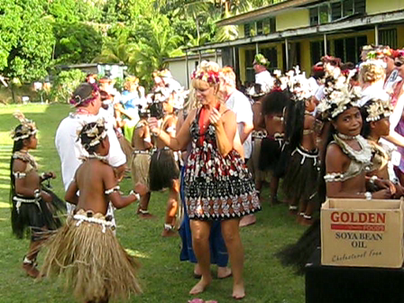 Dancing at Banaban Primary with Blue Lagoon Tourists