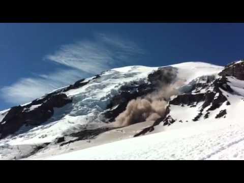 Huge Rock Slide On Mt. Rainier