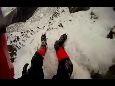 Fall Helmet camera: British climber fall from Snowdon