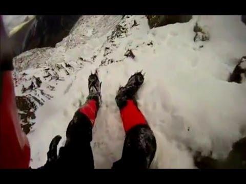 Fall Helmet camera: British climber fall from Snowdon