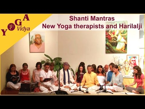 Shanti Mantras chanted by a group of new Yoga therapists