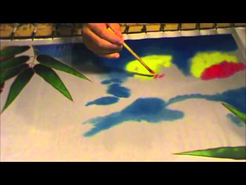 """SILK PAINTING WITH JEAN-BAPTISTE - """"SKY FIRE"""", PART 3 of 3"""