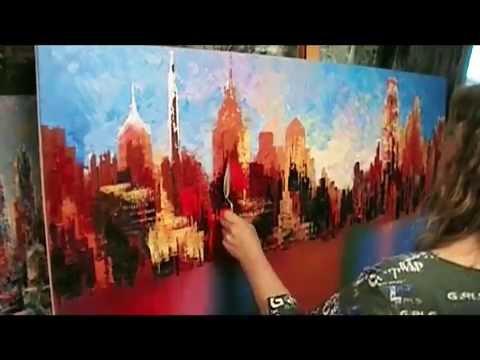 Philadelphia large city skyline painting live palette knife demo Tatiana iliina