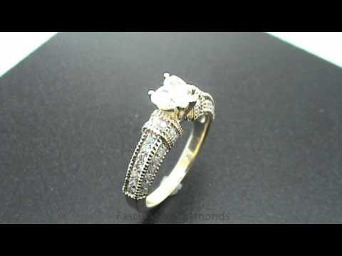 FDENR3046HT Heart Shape Diamond Engagement Ring Vintage Pave Style With Milgrain