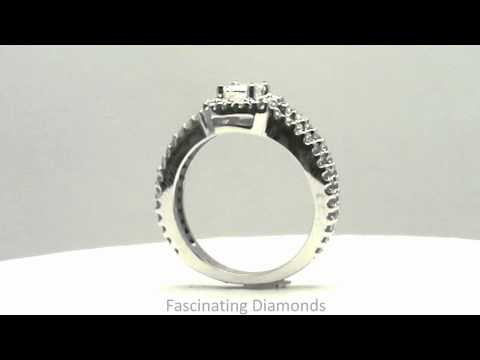 FDENR7319EM Emerald Cut Diamond Engagement Ring In Two Row Split Band Pave Setting
