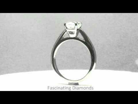 FDENR2128CU Cushion Cut Diamond Solitaire Engagement Ring in Tapered Cathedral Setting
