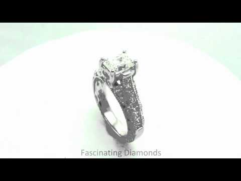 FDENR6839EM Emerald Cut Diamond Engagement Ring In Vintage Cathedral Channel & Pave Setting