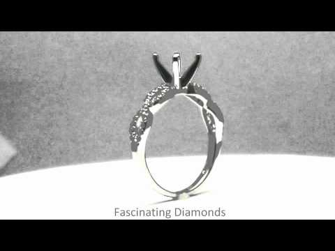 FDENS3044ROR Round Cut Diamond Split Pave Swirl Engagement Ring