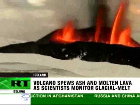 Iceland volcano erupting with ash and molten lava