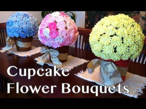 Bloemen cupcake boeket. Supermooi en niet moeilijk!