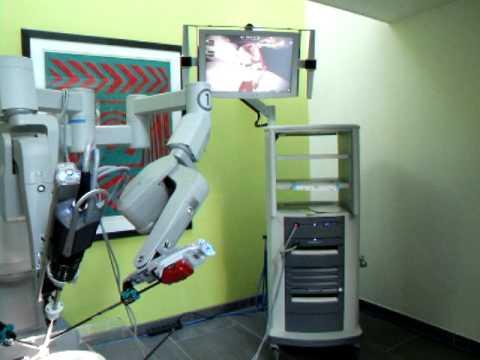 Da Vinci surgical robot peeling a grape at Southmead Hospital event