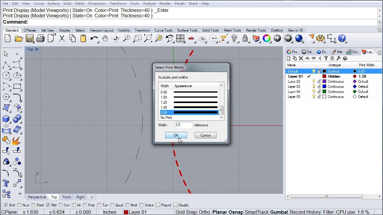 Rhino Visual Tips 5.0: Chapter 7: LAYERS: LINETYPE DISPLAY