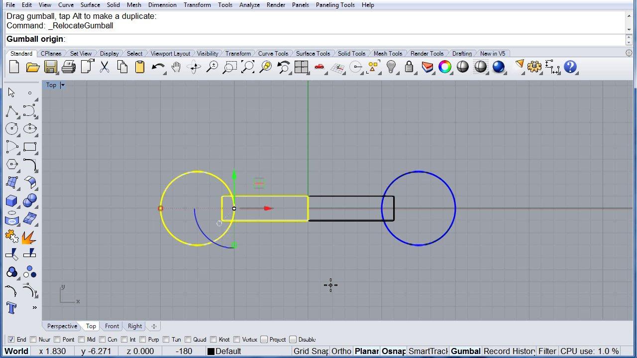 Rhino Visual Tips 5.0: Chapter 5: Gumball: Rotate and Ortho