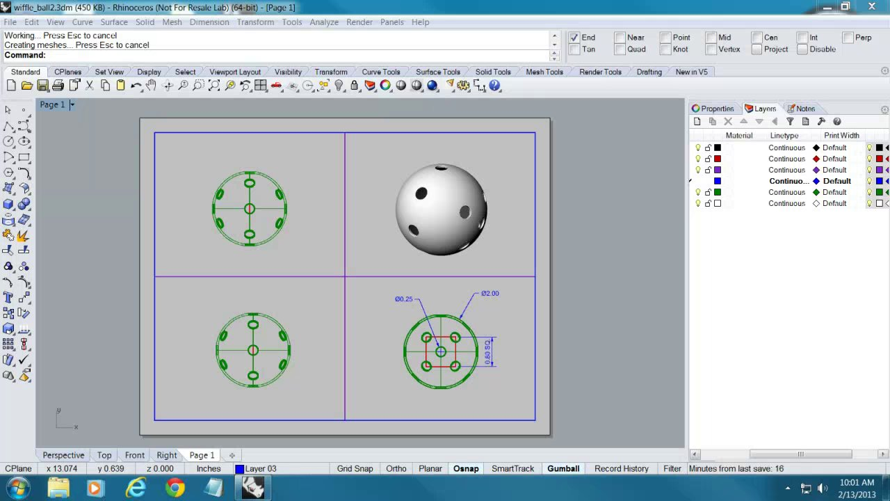 Modeling a Wiffle Ball with Rhino 5
