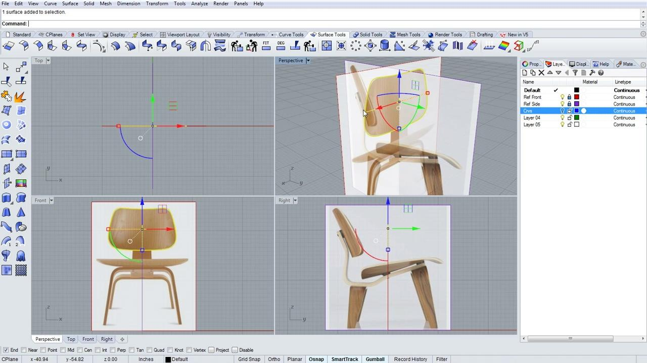 Modeling and rendering a bent plywood chair / updated for v5 Rhino