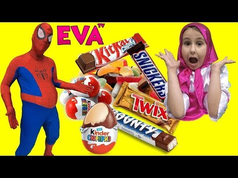 Learn Colors with Masha | Spiderman eats too many Candies and got fat | Masha & The Bear Video