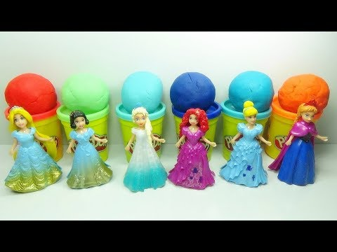 Play Doh Popsicle Disney Princess Dress Up Magic Clip Doll ! Learn Colors Disney Toys