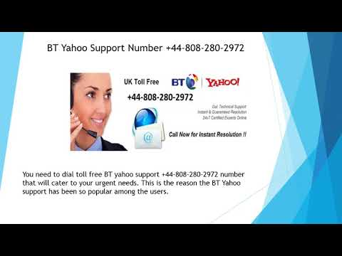 BT Yahoo Support Number +44 808 280 2972