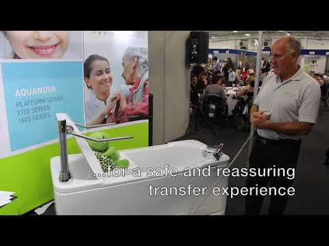 Abacus Healthcare: demonstrating the Scorpio bath powered transfer seat