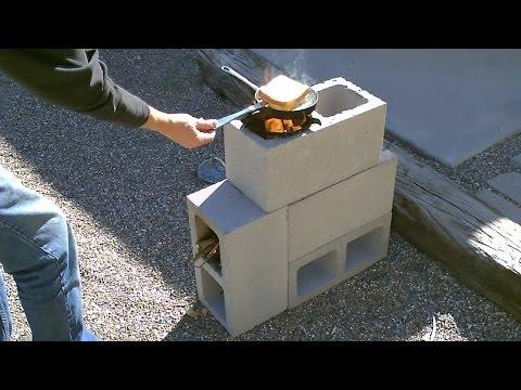"The ""4 Block"" Rocket Stove! - DIY Rocket Stove - (Concrete/Cinder Block Rocket Stove) - Simple DIY"