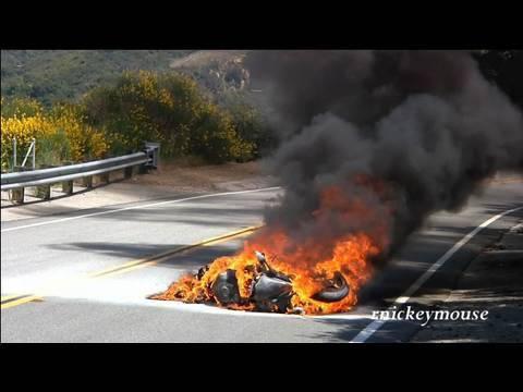 Motorcycle Crash - R6 Highsides & Burns on Mulholland