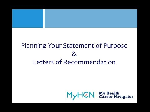 MyHCN Webinar: Planning your Statement of Purpose and Letters of Recommendation