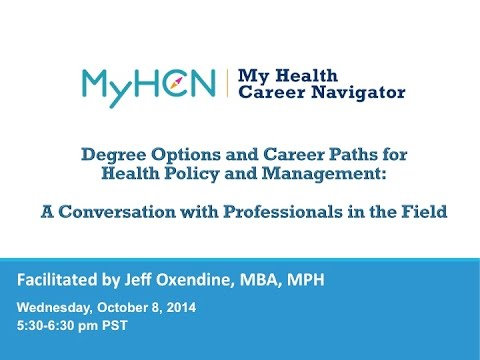 A Conversation with Professionals: Degree Options and Careers in Health Policy and Management