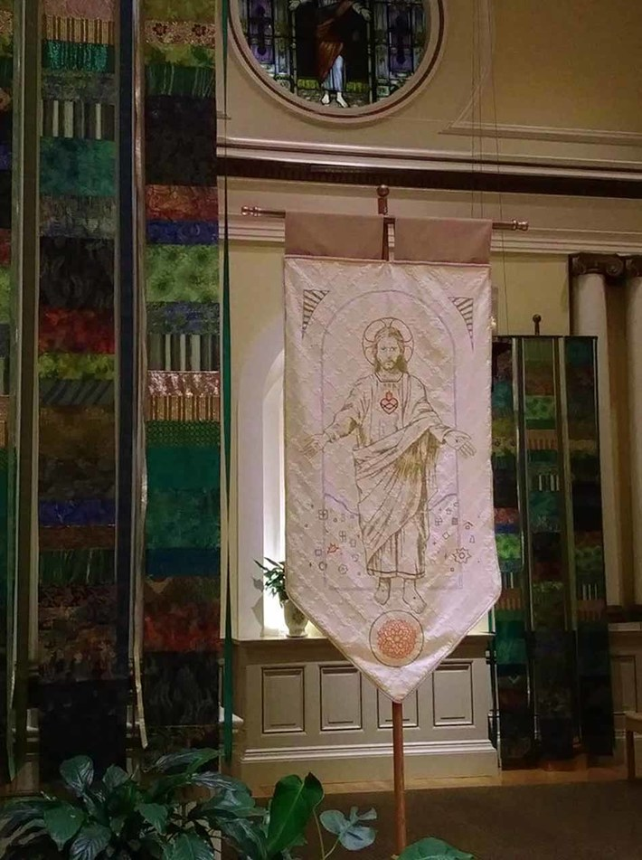 Banner Most Holy Redeemer Banner, in Sanctuary