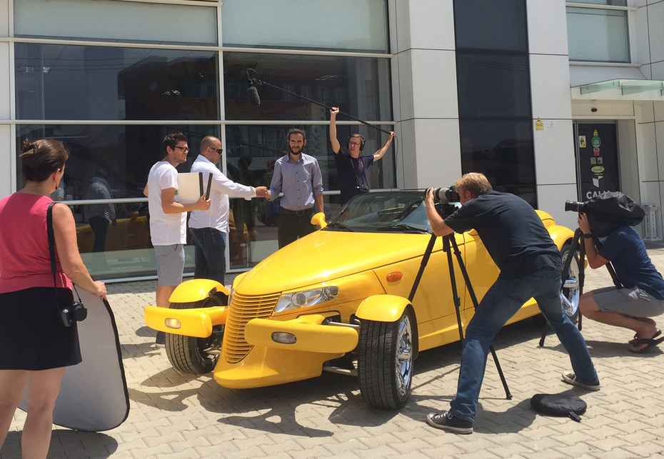 Filming the Prodigal Son buying a car.