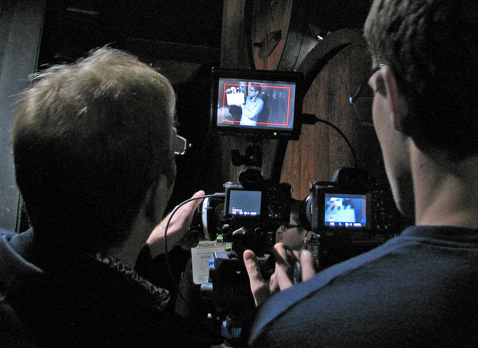 Filming in the wine cave.