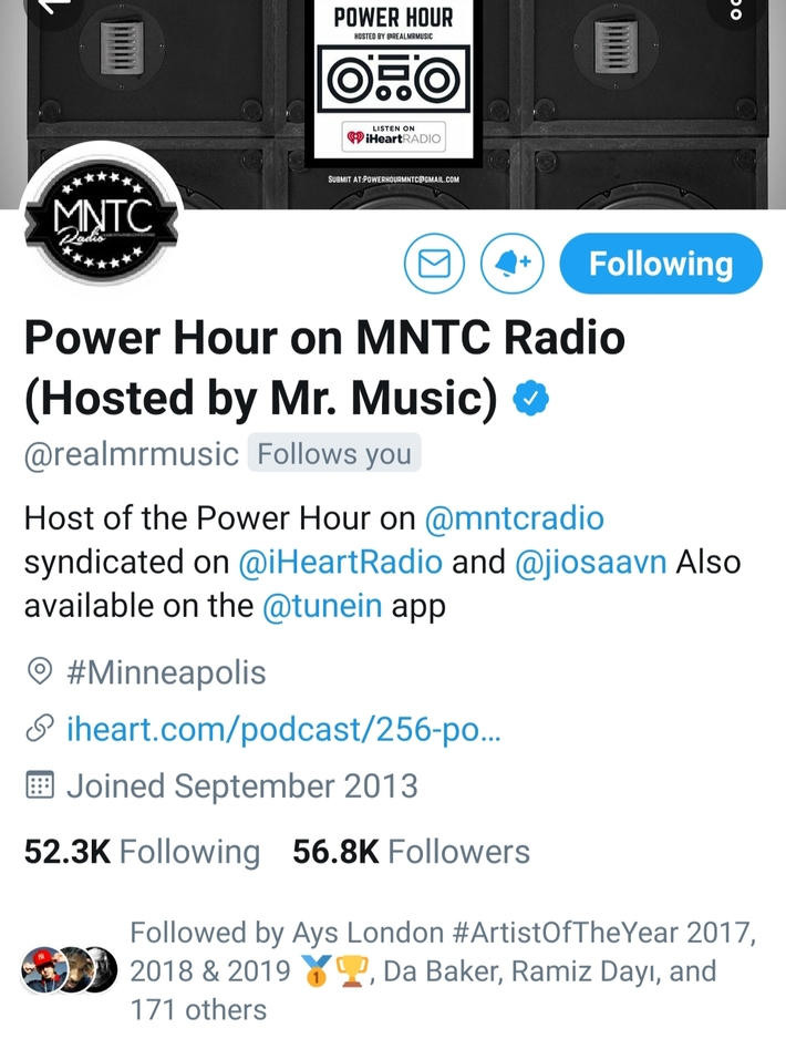SALUTATIONS TO... POWER HOUR ON MNTC RADIO THANKS FOR THE SUPPORT!!  #YOUNGGIFTED