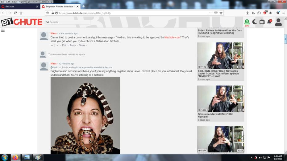 Censorship on Bitchute - Styxhexenhammer666 channel
