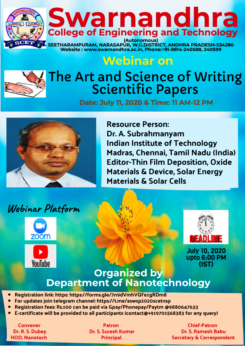 A Webinar on The Art and Science of Writing Scientific Papers (ASWSP-2020) on July 11, 2020.