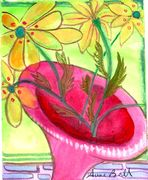pink vase tips-who falls out- anne bell gouache