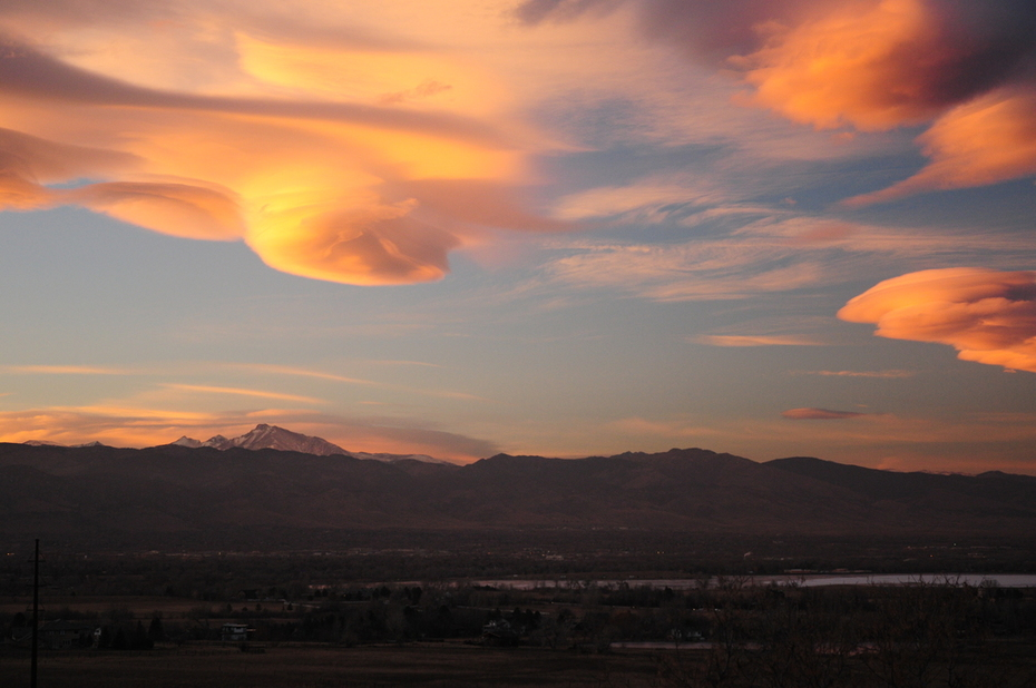 Fiery winter sunset over the Indian Peaks