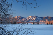 Snowy sunrise over Coot Lake and the Flatirons, Boulder
