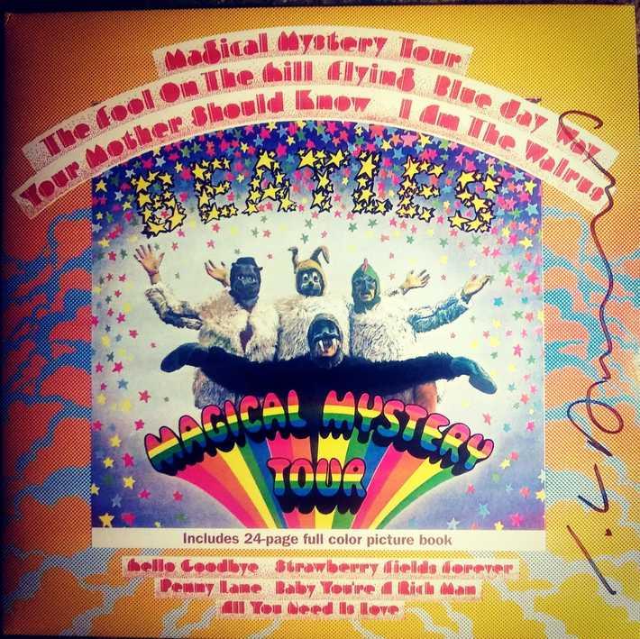 Artist John Van Hamersveld signed Magical Mystery Tour LP cover