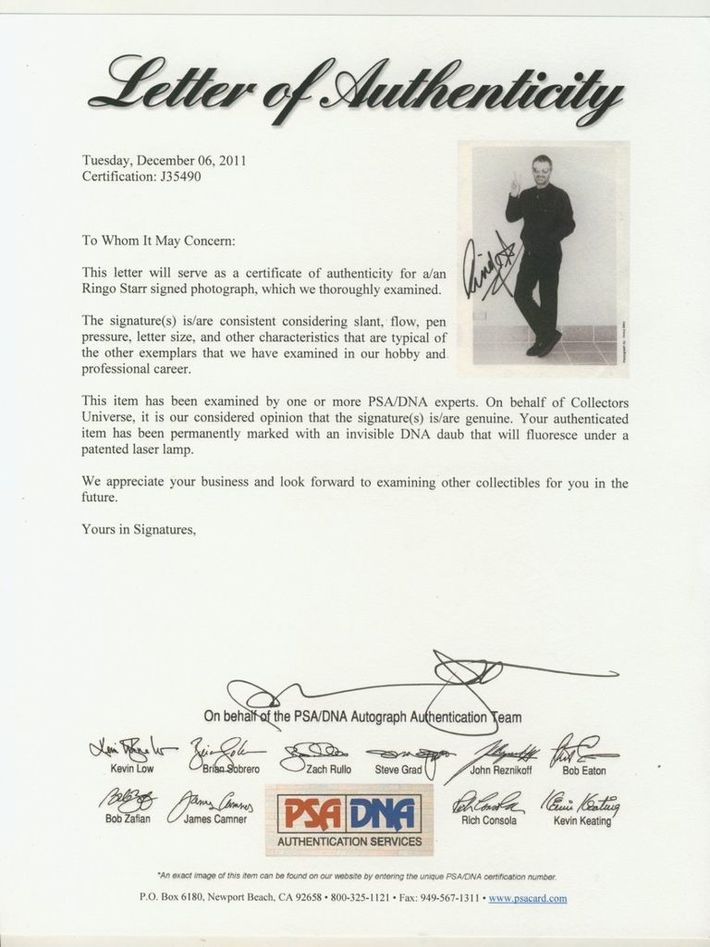 PSA/DNA COA For Ringo's Autograph