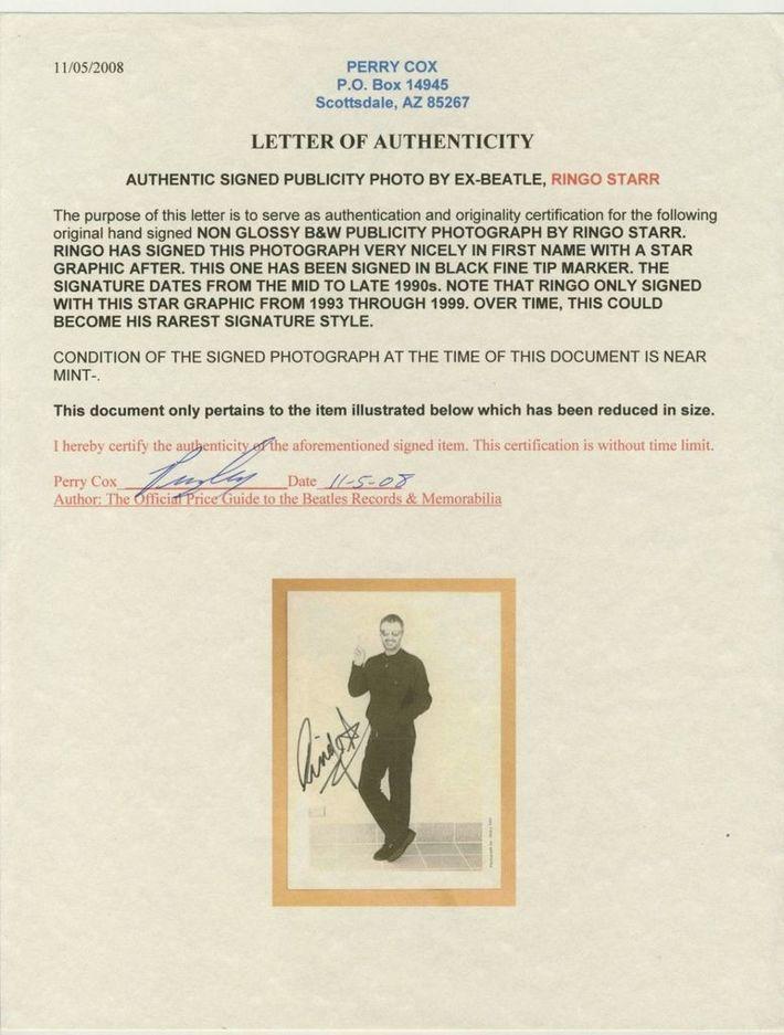 Perry Cox COA For Ringo's Autograph
