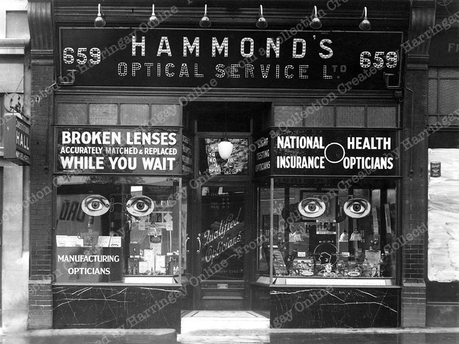Hammonds, Optical Services, Green Lanes, c1950