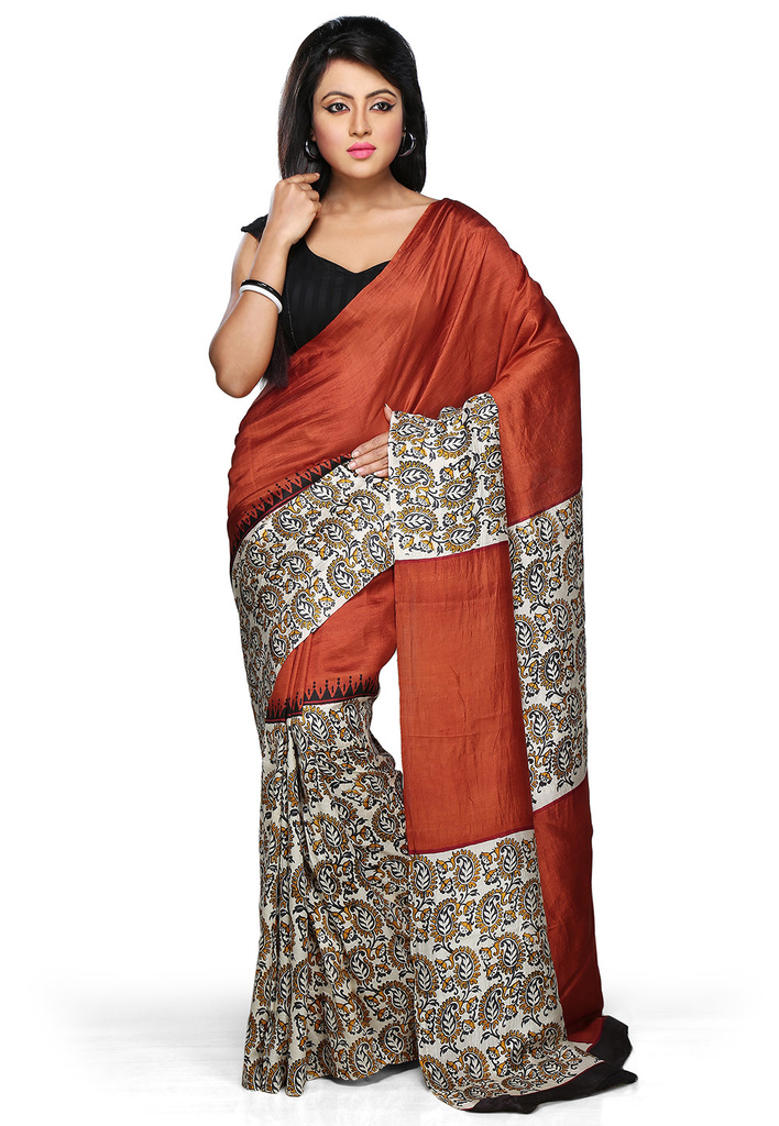Rust Pure Bishnupur Silk Bengal Handloom Saree