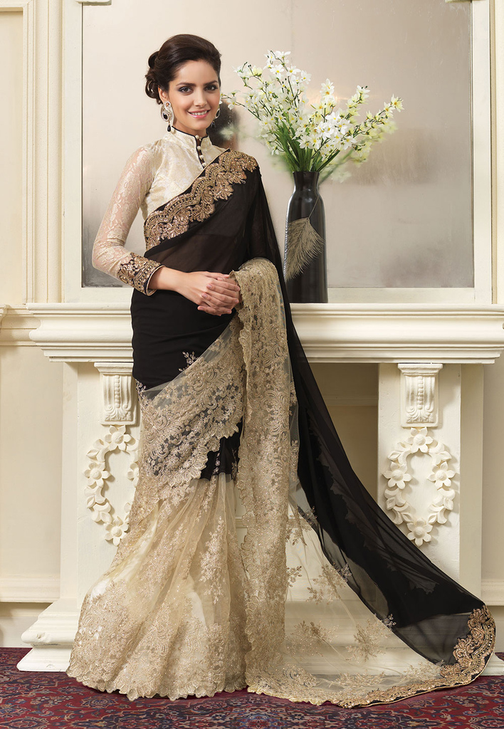 Black and Beige Faux Georgette and Net Saree