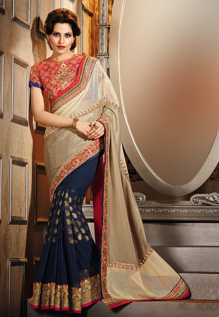 Beige and Navy Blue Jute Cotton and Faux Georgette Saree