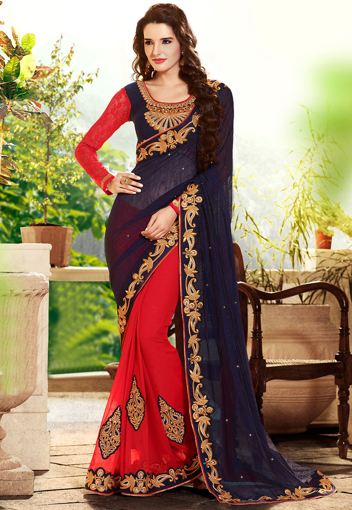 Dark Blue and Red Cotton Jute and Faux Georgette Saree