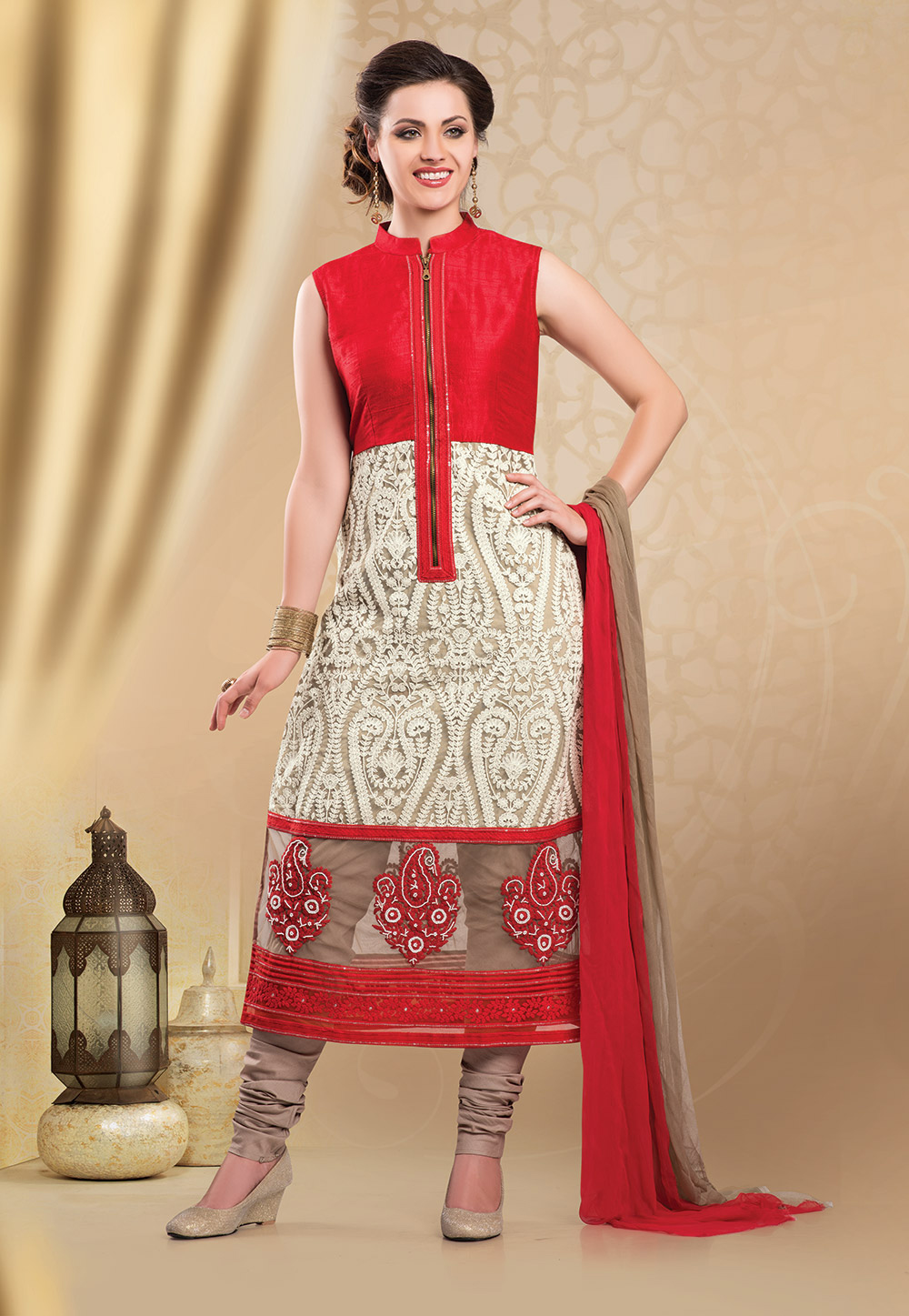 Red and Beige Dupion Silk and Net Readymade Churidar Kameez