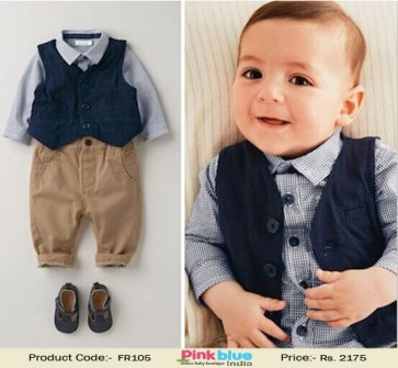 e46665bb9 Stylish and handsome designer 3 piece boys formal clothing set with a grey  shirt and brown pants with blue waistcoat prefect party outfit for wedding  ...