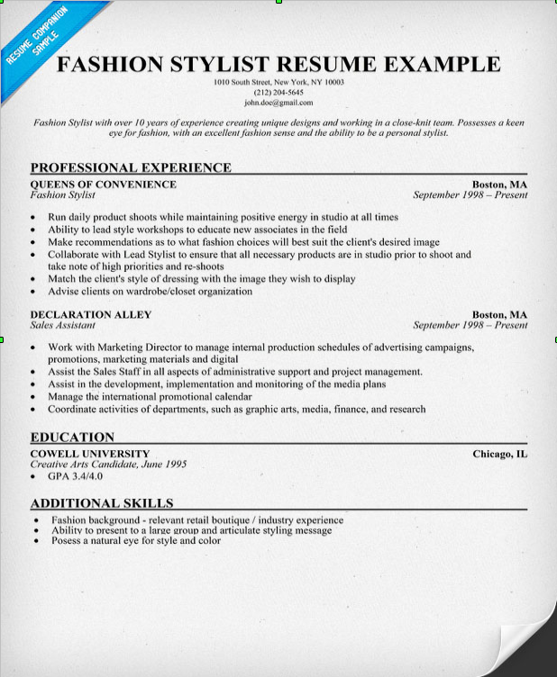How To Write The Best Resume For A Job In The Fashion
